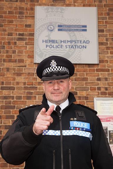 Chief Inspector Glenn Channer outside Hemel Police Station (web)
