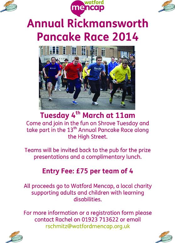 Pancake Race 2014 Poster for Entrants