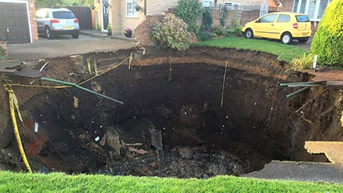A 66ft sinkhole appears in St Albans