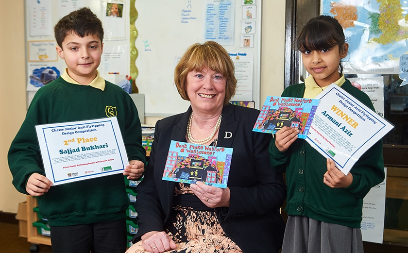 Schoolchildren design postcard to help Watford council tackle fly tipping